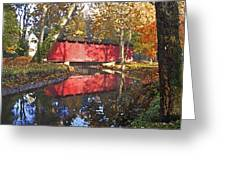 Autumn Sunrise Bridge Greeting Card