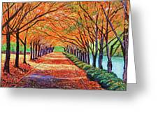 Autumn Tree Lane Greeting Card