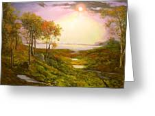 Autumn Twilight On The Hudson River Greeting Card