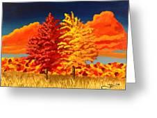 Autumn Twins Greeting Card