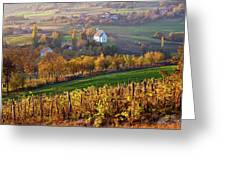 Autumn View Of Church On The Rural Hills Greeting Card