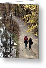 Autumn Walk On The C And O Canal Towpath With Oil Painting Effect Greeting Card