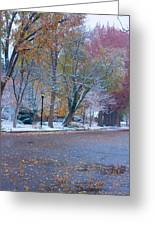Autumn Winter Street Light Color Greeting Card