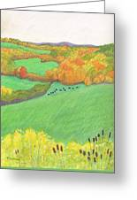 Autumn With Purple Angus Greeting Card