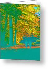 Autumn Woodland Walk Turquoise Greeting Card