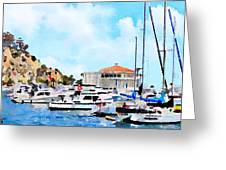 Avalon Casino Harbor, Catalina Greeting Card