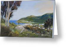 Avalon Harbor - Taking The High Road Catalina Island Oil Painting Greeting Card