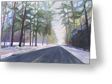 Avenue Of The Pines-winter Greeting Card