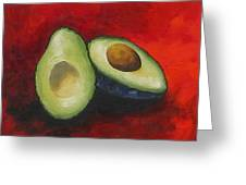 Avocado On Red  Greeting Card