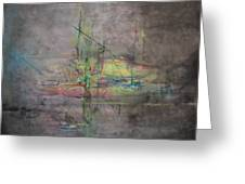 Awakening Abstract 1 Black Background Bright Detail Greeting Card by Lizzy Forrester