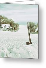 Axe In Snow Scene Greeting Card