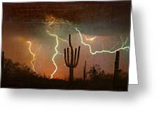 Az Saguaro Lightning Storm Greeting Card