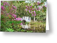 Azaleas And Bridge In Magnolia Lagoon Greeting Card