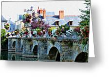 Azay-le-rideau, Loire Valley, France, Bridge With Flowers Greeting Card