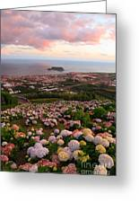 Azorean Town At Sunset Greeting Card