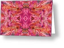 Aztec Kaleidoscope - Pattern 009 - Crimson Greeting Card