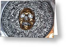 Aztec  Mayan Skull Warrior Calendar Relief Photo Greeting Card
