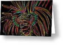 Aztec Skull Warrior Greeting Card