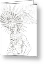 Aztec Warrior In Front Of Chicchen Itza Greeting Card