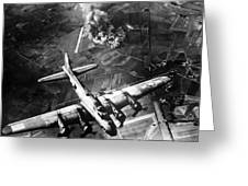 B-17 Bomber Over Germany  Greeting Card