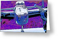 B-25 Blue Purple Greeting Card