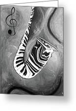 Piano Keys In A Saxophone B/w - Music In Motion Greeting Card