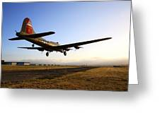 B17 Flying Fortress Lands At Livermore Klvk Greeting Card