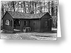 Babcock State Park Cabin - Paint Bw Greeting Card