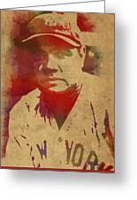 Babe Ruth Baseball Player New York Yankees Vintage Watercolor Portrait On Worn Canvas Greeting Card
