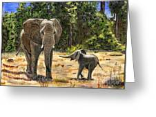 Baby And Mom Elephant Painting Greeting Card