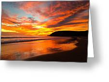 Baby Blue And Tangerine Sky Greeting Card