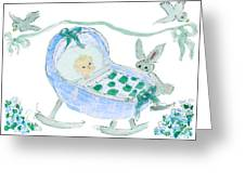 Baby Boy With Bunny And Birds Greeting Card