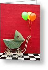 Baby Buggy With Red Wall Greeting Card