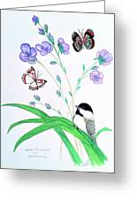 Baby Chickadee And Butterflies Greeting Card