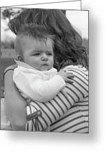 Baby Content On Mom's Shoulder Greeting Card