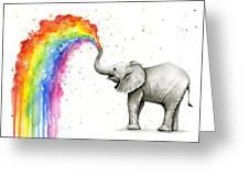 Baby Elephant Spraying Rainbow Greeting Card