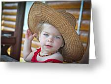Baby Girl Wearing Straw Hat Greeting Card