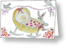 Baby Girl With Bunny And Birds Greeting Card
