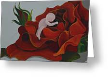 Baby In A Rose Greeting Card