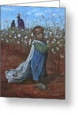 Baby Picking Cotton Greeting Card