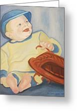 Baby With Baseball Glove Greeting Card