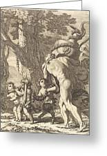 Bacchanal With Figures Carrying A Vase Greeting Card