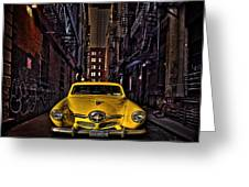Back Alley Taxi Cab Greeting Card