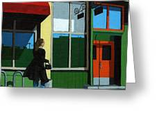 Back Street Grill - Urban Art Greeting Card by Linda Apple