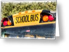 Back To School Bus Watercolor Greeting Card