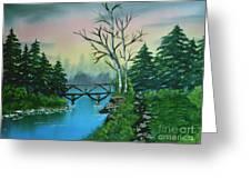 Back Woods Bridge Greeting Card
