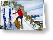 Backcountry Skier Preps For Ice Climbing On Cobb Peak In Idaho Greeting Card