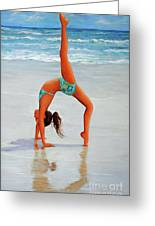 Backflip At The Beach Greeting Card