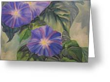 Backyard Morning Glories Greeting Card