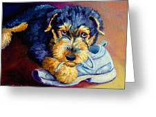 Bad Puppy Airedale Terrier Greeting Card by Lyn Cook